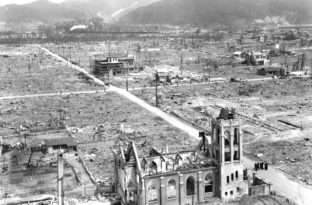 A section of the bomb damaged ruins of buildings, looking south from the centre of the city of Hiroshima. Photo: Australian War Memorial/ Public Domain
