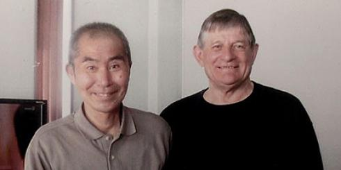 (left) Tanaka Kun, a Japanese homeless man, with Columban Fr Joeseph Broderick. Fr Joeseph has lived and worked in Japan as a missionary priest since 1969.